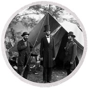 Round Beach Towel featuring the photograph President Lincoln Meets With Generals After Victory At Antietam by International  Images