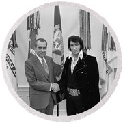 President Richard Nixon Meeting Elvis Round Beach Towel by War Is Hell Store