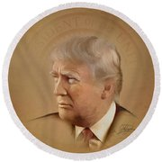 President Trump Round Beach Towel