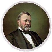 President Ulysses S Grant Portrait Round Beach Towel