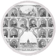 Presidents Of The United States 1776-1876 Round Beach Towel
