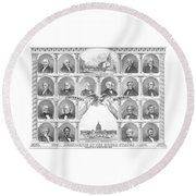 Presidents Of The United States 1776-1876 Round Beach Towel by War Is Hell Store