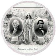 Presidents Washington And Lincoln Round Beach Towel