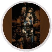 Round Beach Towel featuring the painting Pressure Cracked by Jim Vance