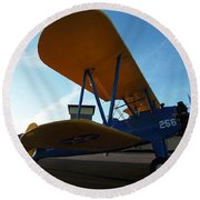 Round Beach Towel featuring the photograph Preston's Boeing Stearman 000 by Chris Mercer