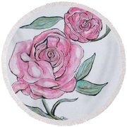 Pretty And Pink Roses Round Beach Towel