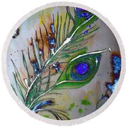 Round Beach Towel featuring the painting Pretty As A Peacock by Denise Tomasura