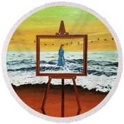 Pretty As A Picture Round Beach Towel