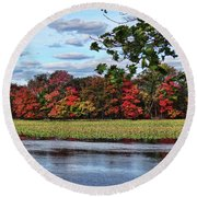 Pretty Autumn Scene Round Beach Towel
