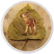 Pretty Baby Deer Round Beach Towel by Ralph Root