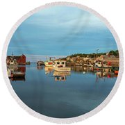 Pretty Colors On Rockport Harbor And Motif #1 Rockport Ma Round Beach Towel