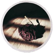 Pretty Dead Rose Resting In The Warm Sun Round Beach Towel