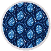 Pretty Decorative Blue Leaves Pattern Round Beach Towel