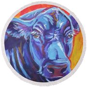Pretty Face Cow Round Beach Towel