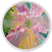 Pretty In Pastels Round Beach Towel by Karen Nicholson