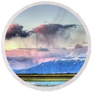 Round Beach Towel featuring the photograph Pretty In Pink by Bryan Carter