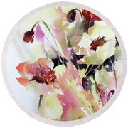 Round Beach Towel featuring the painting Pretty In Pink by Rae Andrews