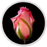 Round Beach Towel featuring the photograph Pretty In Pink Rosebud by Sue Melvin
