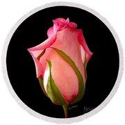 Pretty In Pink Rosebud Round Beach Towel