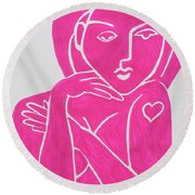 Pretty In Pink Tattoo Girl Poster Print  Round Beach Towel