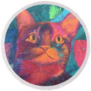 Round Beach Towel featuring the painting Pretty Kitty by Nancy Jolley