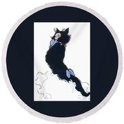 Round Beach Towel featuring the digital art Pretty Kitty by ReInVintaged