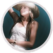 Pretty Lasso Girl Round Beach Towel