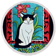 Round Beach Towel featuring the painting Pretty Me In Tuxedo by Dora Hathazi Mendes
