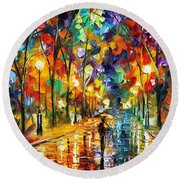 Pretty Night - Palette Knife Oil Painting On Canvas By Leonid Afremov Round Beach Towel