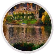Pretty On The River Round Beach Towel