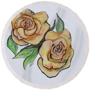Pretty Peach Roses Round Beach Towel