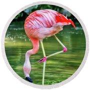 Pretty Pink Flamingo Round Beach Towel