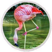 Pretty Pink Flamingo Round Beach Towel