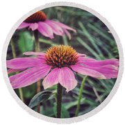 Pretty Pink Flower Parasol Round Beach Towel by Karen Stahlros