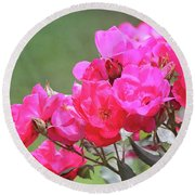 Pretty Pink Roses Round Beach Towel
