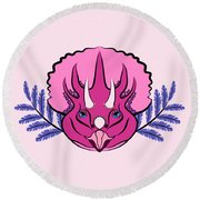 Pretty Pink Triceratops Round Beach Towel by MM Anderson