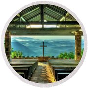 Pretty Place Chapel The Son Has Risen Round Beach Towel by Reid Callaway