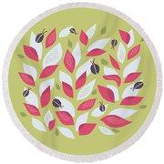 Pretty Plant With White Pink Leaves And Ladybugs Round Beach Towel