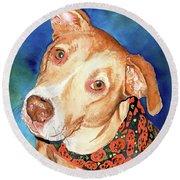 Pretty Please, Dog Portrait, Dog Painting, Dog Print, Dog Art Round Beach Towel