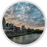 Pretty Sky And Nashville Skyline Round Beach Towel