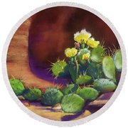 Pricklies On A Ledge Round Beach Towel