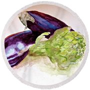 Round Beach Towel featuring the painting Prickly And Voluptuous by Beverley Harper Tinsley