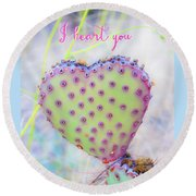 Prickly Heart Round Beach Towel