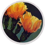 Prickly Pear Blooming Round Beach Towel