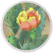 Round Beach Towel featuring the painting Prickly Pear Cactus Bloom by Diane McClary