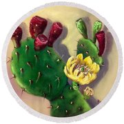 Round Beach Towel featuring the painting Prickly Pear Cactus by Randol Burns