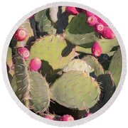 Prickly Pear Cactus Round Beach Towel