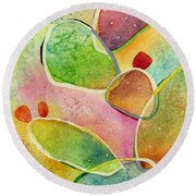 Round Beach Towel featuring the painting Prickly Pizazz 1 by Hailey E Herrera