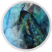 Round Beach Towel featuring the painting Pride by Mo T