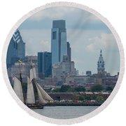 Pride Of Baltimore II Philadelphia Skyline Round Beach Towel by Terry DeLuco